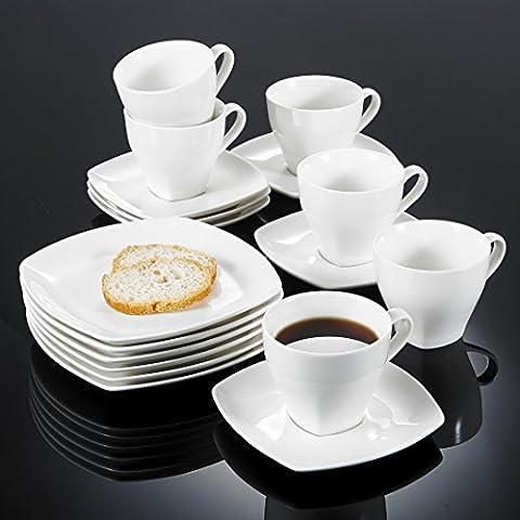 Vancasso Candela 18-teilig Kaffeeservice aus Fein Bone China Porzellan, Mit