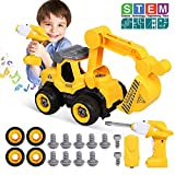 Lehoo Castle DIY Escavatore Giocattolo per Bambini,Escavatore Radiocomandato con Cacciavite,I Migliori Regali di Natale per Bambini