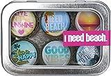 Kate Grenier Designs I Need Beach Bottle Cap Magnet, 6-Pack