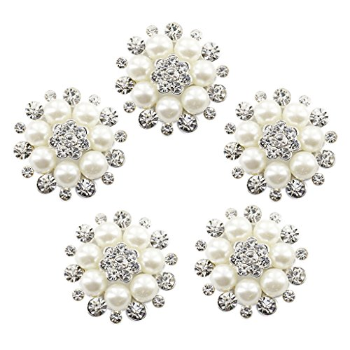 Cristal Phenovo Falsa Perla Flor Boton De Decoracion 30mm Bricolaje 5p