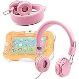 Casque DURAGADGET réglable rose pour enfant, compatible avec tablette / jeu éducatif électronique Videojet Nickelodeon 5054 – repliable avec microphone intégré