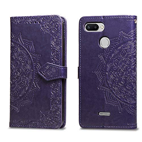 MUSESHOP Funda Xiaomi Redmi 6/6A, Carcasa Libro de Cuero con Tapa y Cartera para Xiaomi Redmi 6/6A, Carcasa PU Leather con TPU Silicona Case Interna Suave, Soporte Plegable - Púrpura