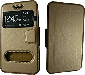 BKDT Marketing Leather finish Flip Cover Case Stand Diary Style for MICROMAX Canvas Juice 4G Q461 with Dislay Window - Brown