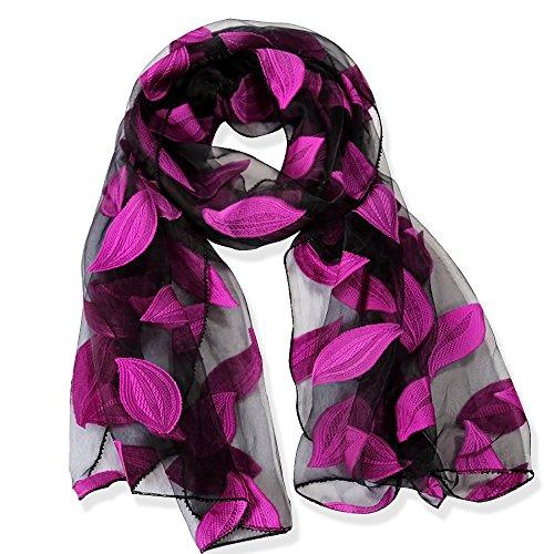 Yfzyt elegante wrap donna scialle di seta chiffon delle sciarpe della sciarpa con motivo foglie ricamate - foglie rosa rossa
