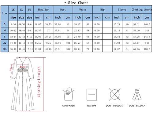 Maxikleid Damen V-Ausschnitt Floral 3/4 Ärmel Lang Kleider Aprikose