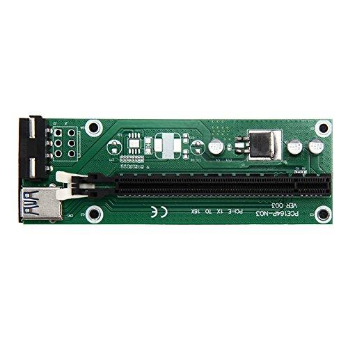 Galleria fotografica Demiawaking, scheda di espansione da PCI-E 1x a 16x , con cavo prolunga USB 3.0da 30 cm e cavo da Molex a Sata, cavo prolunga riser GPU, per mining Ethereum