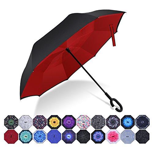 Paraguas invertido innovador, paraguas invertido doble de la capa,paraguas reverso de los coches creativos rectos impermeables y parados (Rojo puro)