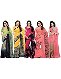 ishin Women's Faux Georgette Printed Saree with Blouse Piece (Multicolour, Free Size) - Combo of 5