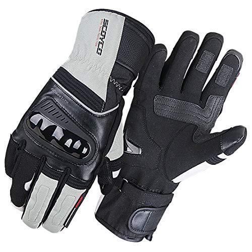 Guanti da Moto Inverno Caldo Impermeabile Guanti a Dito Pieno Moto Professionale Attrezzatura da Corsa,White,L