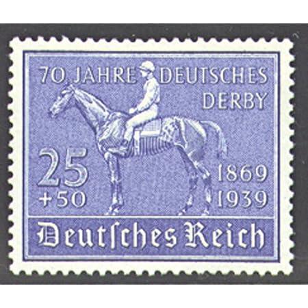 Goldhahn Deutsches Reich Nr. 698 gestempelt 70 Jahre Deutsches Derby 1939″ – Briefmarken für Sammler