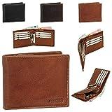 Luxus Leder Geldbörse Portemonnaie Geldbeutel Münzfach mit Reißverschluss 12 cm vers. Farben schwarz, braun, cognac
