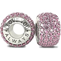 I Love You Always Sterling Silver 925 Pink CZ Crystals Screw Threaded Bead Charm - will fit Pandora and any similar 4.1mm bracelets prLMUnB7y