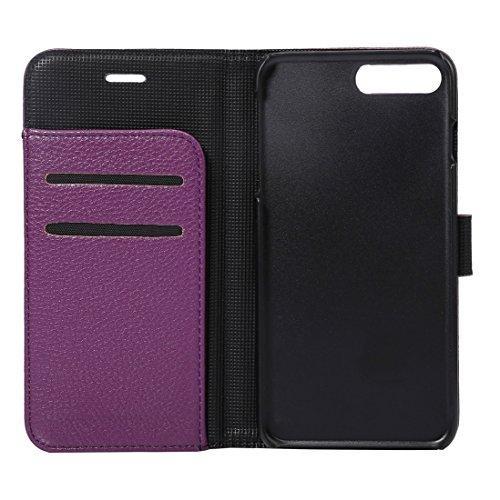 Hülle für iPhone 7 plus , Schutzhülle Für iPhone 7 Plus Lichi Textur Magnetische Adsorption Horizontale Flip Leder Tasche mit Card Slot & Holder & Wallet ,hülle für iPhone 7 plus , case for iphone 7 p Purple