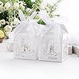 50 Stück Hochzeit Süßigkeiten Box Geschenkbox Taufe Gastgeschenk Kartonage Schachtel Tischdeko Bonboniere Box Hochzeit Dekoration