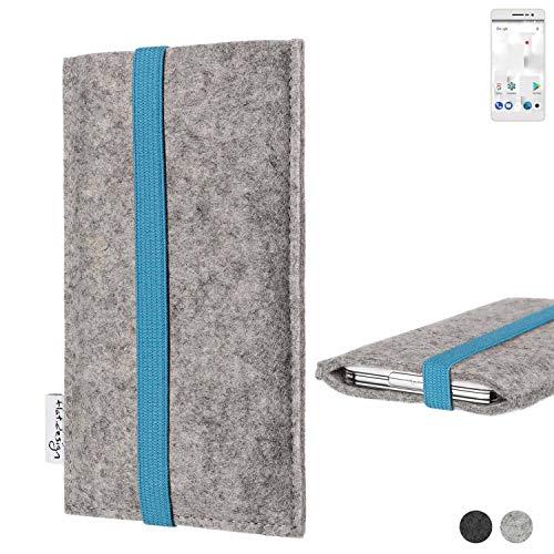 flat.design Handy Hülle Coimbra für Thomson Delight TH201 - Schutz Case Tasche Filz Made in Germany hellgrau türkis