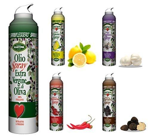 Olio extravergine di oliva e aromatizzati spray (5 flaconi da 250 ml)-con lo spray risparmi fino al 90% di prodotto