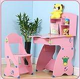 Klappstuhl XINGUANG Kinder Schreibtisch Stuhl Set Höhenverstellbar Multifunktions Aufzug Schreibtisch Tabelle 102 * 54,5 * 61 Stuhl 73 * 30 * 34 Schemel (Farbe : Pink)