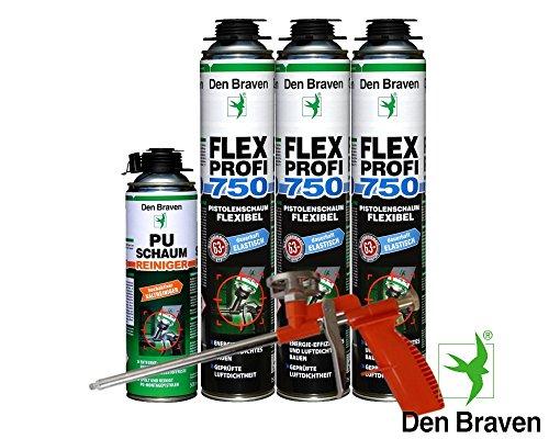 Den Braven Spar Kombi Set 3 x Flex Profi Fensterschaum 750ml B2-Qualität inkl. PU Reiniger + Schaumpistole Compact - luftdichtes Verfüllen, Abdichten von Fugen, Hoch- und Tiefbau, hocheffektiv ,energieeffizient, dauerhaft elastisch