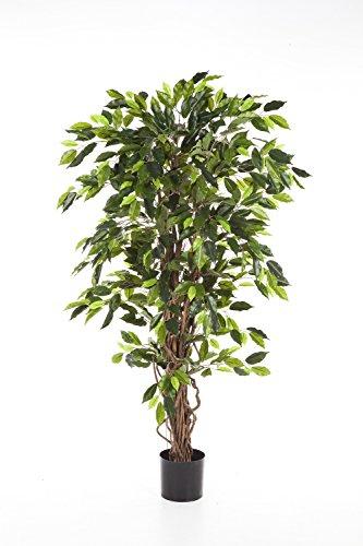 artplants Deko-Ficus JARLAN mit 430 Blättern und lianenartigem Stamm, grün, 120 cm – Kunst Ficus/Baum künstlich