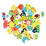 Dealglad®, 48calamite a forma di animali colorati in legno per frigorifero, per bambini, giocattolo educativo, decorazione domestica