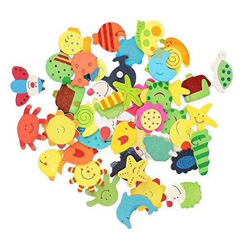 dealglad® 48 PCS Neuheit Colorful Tiere Holz Kühlschrank Magnet Sticker Kühlschrank Magnet Aufkleber Kinder Educational Toy Home Dekoration