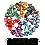 Dadi Dungeons and Dragons,Beetest 49 Pezzi Dadi Poliedrici da Gioco Doppio-Colore per TRPG Dungeons e Dragons Pathfinder con 7 Pezzi Sacchetti Neri,7 Set di RPG DND MTG D4/D6/D8/D10(0-9 e 00-90)/D12/D20