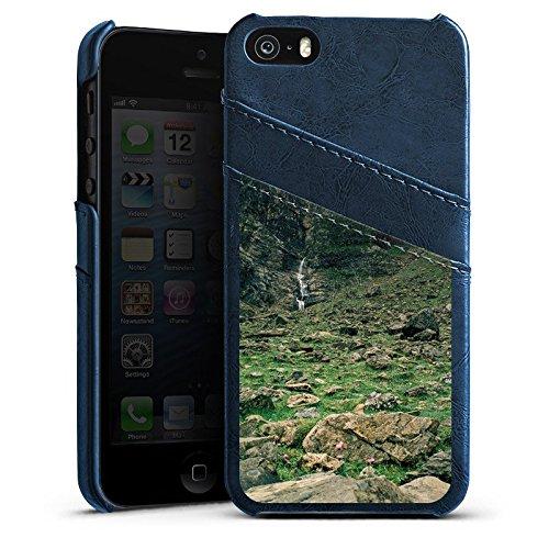Apple iPhone 4 Housse Étui Silicone Coque Protection Chute d'eau Montagne Rochers Étui en cuir bleu marine