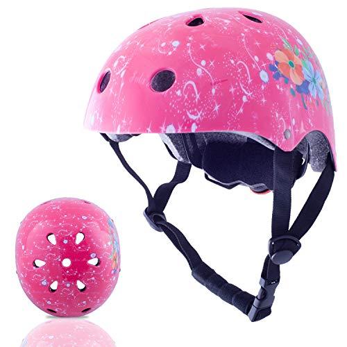 er/Kinder Fahrradhelm CE Zertifiziert für Multi-Sport BMX Skateboard Roller Helm Alter 3-8 Jahre Jungen Mädchen (Pinke Farbe) ()