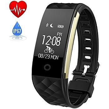 HETP Montre connectée HR, Bracelet Connectée Samsung/iOS/Android Bluetooth Sport Fitness Tracker