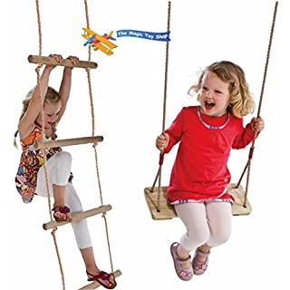 Set of Wooden Rope Garden Swing & Rope Ladder Toy Child Outdoor Safety Play