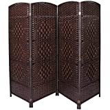 Zena Synthetic Fabric Dark Brown Foldable Room Divider 180cm Height 180 cm length x 4 layer