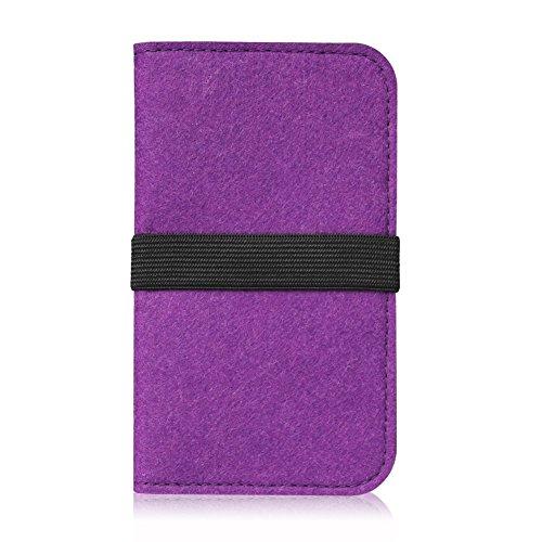 Filz Tasche für Smartphone Cover Hülle Case Schutzhülle Handy Flip Filztasche, Farben:Türkis, Handy Modelle für:Apple iPhone 6S Plus Lila