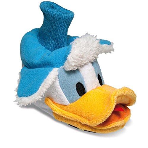SAMs Kinder Plüsch Tier Hausschuhe Disney Donald Duck 22-28 Pantoffel Puschen Schlappen knuffig, TH-Donald Blau