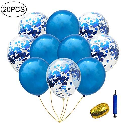 Blau Gold Latex Transparent Klare Konfetti Confetti Luftballons Ballons Curling Band Hochzeit,Geburtstag,Graduierung,Vorschlag,Hochzeiten,Brautgeschenke,Baby-Duschen, Valentinstag Party Dekorationen