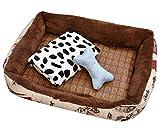 GUOCU Cama para Perro Lavable con Almohadas Sofá para Mascotas Lavable Rectangular Canasta de Mascotas Conjunto de Cuatro Piezas Marrón Set S