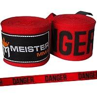 """Meister 457,2 cm algodón elástico vendas para MMA y boxeo (par) Rojo Danger Red Talla:180"""" x 2"""" (Pair)"""