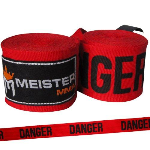 Meister, Vendaje elástico de algodón para artes marciales mixtas (AMM) y boxeo, 4,5 m (un par), mujer niña hombre Niños, color Danger Red, tamaño 180