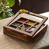 ExclusiveLane Bird Spice Box In Teak Wood - Spice Rack, Spice Jar Container Masala Dabba, Refreshers Box Kitchen Storage & Containers
