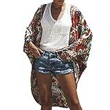 Fuibo Damen Strickjacke, Frauen Floral Batwing Sleeve Strand Bohe Chiffon Vertuschung Kimono Cardigan Mantel |Cardigan Langarmshirt mit Schalkragen Langarm Leichte Strickjacke (XL, Rot)