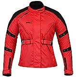 Ledershop-online Bangla 1520 Schicke Damen Motorrad Jacke Tourenjacke Textil Rot XXL
