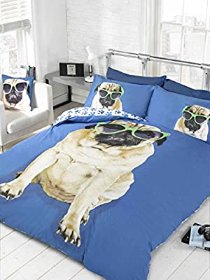 Bedding Heaven Reversible, Fun Design. PERCY PUG DUVET COVER, BLUE. SINGLE BED SIZE DUVET COVER. Cute Dog in Sunglasses, Paw Prints on Reverse.