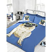 Bedding Heaven - Funda de Edredón Tamaño de Cama Doble, Reversible, Divertido Diseño de Perro Pug con Gafas de Sol sobre Fondo Azul, Reverse con Estampado de Patas.