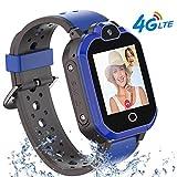 Bambini Smartwatch Localizzatore GPS 4G con Chat Video, Supporto SIM Card WiFi,SOS Help Camera Pedometro Compatibile con iPhone/Android Smartphone bambini Regali(blu)