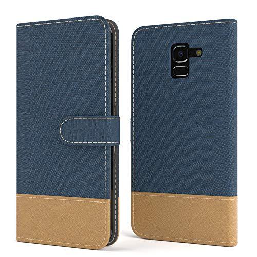 EAZY CASE Tasche für Samsung Galaxy J6 Stoff Schutzhülle mit Standfunktion Klapphülle im Bookstyle, Handytasche Handyhülle Flip Cover mit Magnetverschluss und Kartenfach, Kunstleder, Dunkelblau