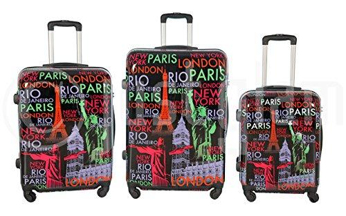 Trolley valigia set valigie rigide set bagagli in policarbonato abs 4 ruote piroettanti trolley piccolo adatta per cabina con compagnie lowcost art capitali / nero