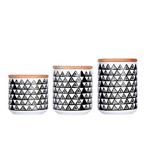Keramikdosen-Set für Lebensmittelaufbewahrung mit luftdichten Holzdeckeln Küchendosen Mehl Zucker Behälter Tee Kaffee Kanister Gewürze Müsli Kanister fein style 2(3 piece set) schwarz/weiß (Tee-set Schwarz Und Weiß)