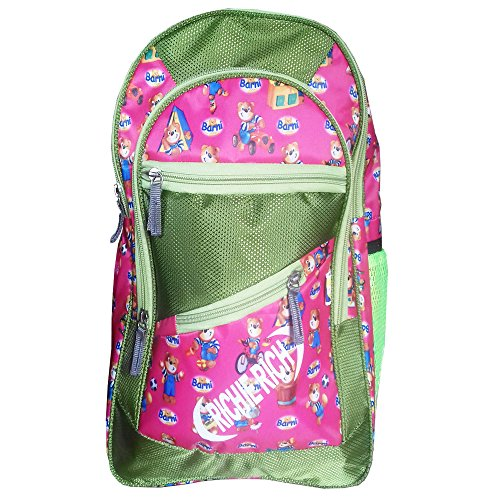 Rose Bud Richie Rich Cartoon Stylish Pink and Green Printed (10-15 Lt/16 inches/4-7 years) 5 Compartment Shoulder Strap padding Polyester Backpack School Bag for Nursery and Junior School Girls and Boys Students (Doraemon, Chota Bheem, Ben 10, Barbie, Motu Patlu, Cinderella Princess, Sponge Bob, Honey Bunny, Subway Surfers, Micky Mouse, Bugs Bunny, Tweety, Goofy, Tom, Jerry, Donald duck, Snow White etc)  available at amazon for Rs.425
