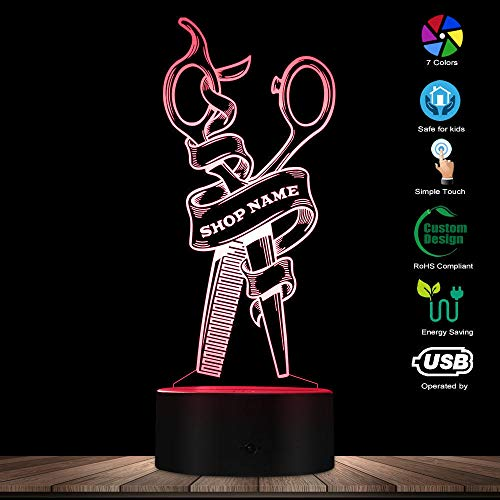 PTSHOP Friseur Scissor Led Nacht Lampe benutzerdefinierte Friseur Name Friseur Scissor dekorative Beleuchtung Cosmetology Friseur Geschenk - Gelbe Anzeige-lampe