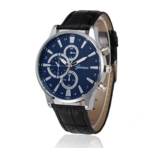 Rawdah Men Retro Design Wrist Watch Leather Band Analog Alloy Quartz (Black)