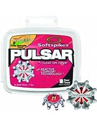 Softspikes Spikes Pulsar, Golf Schuh Klampe Set aus 6 mm Gewinde aus Metall, Rot